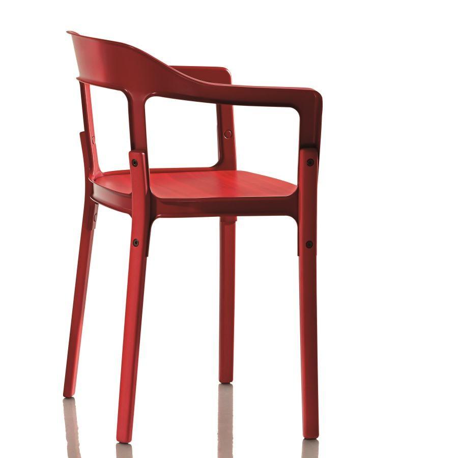 Červená stolička Magis Steelwood