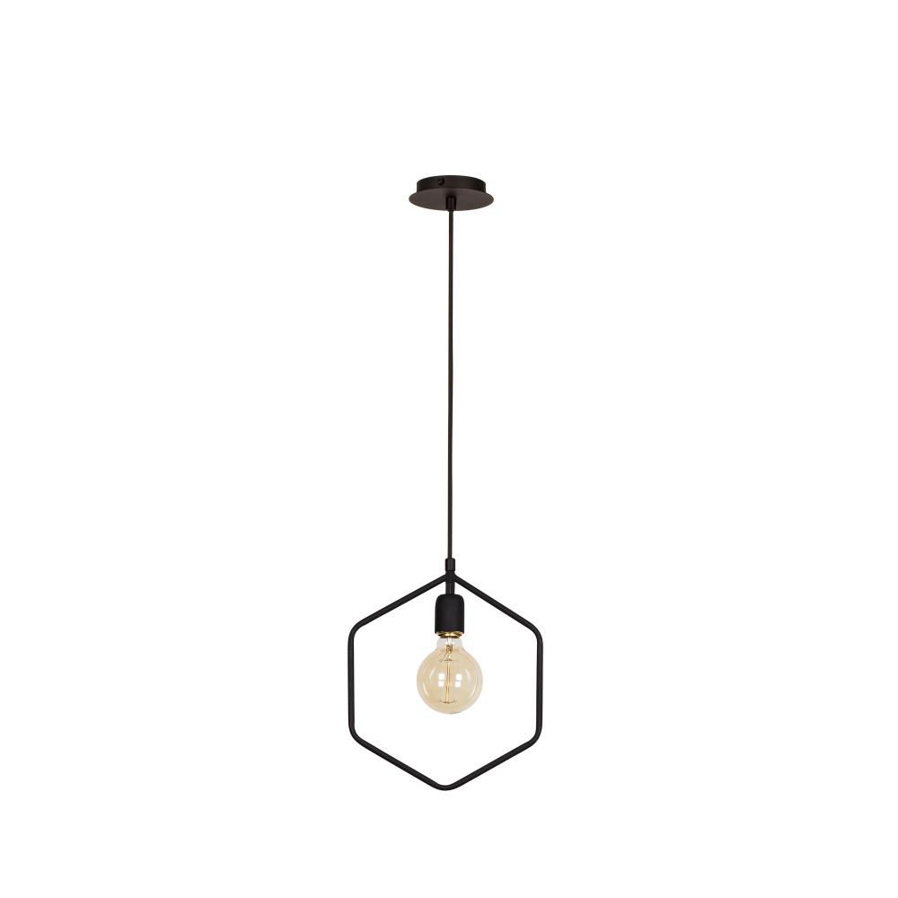 Čierne stropné svietidlo Hexagon