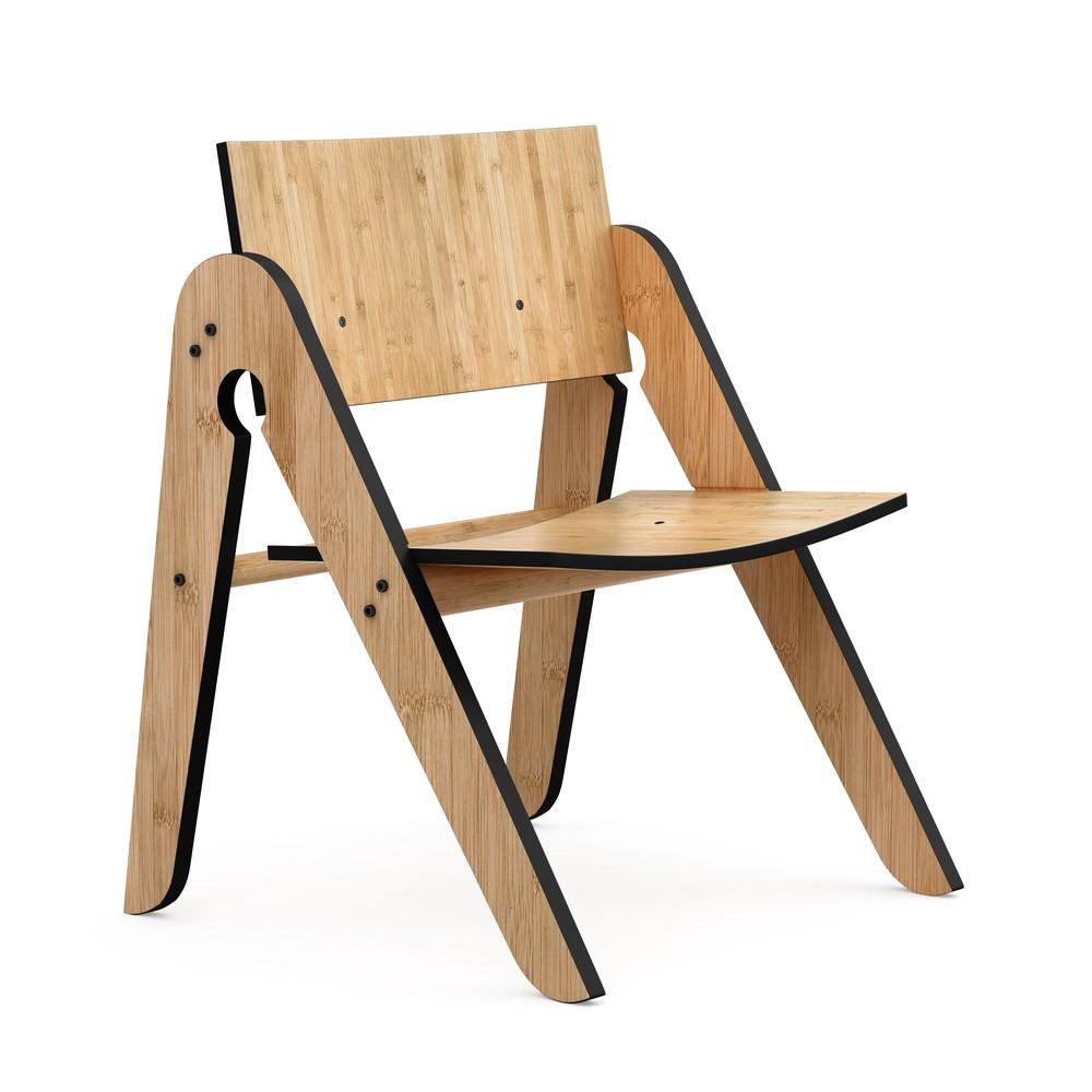 Detská bambusová stolička s čiernymi detailmi We Do Wood Lilly's