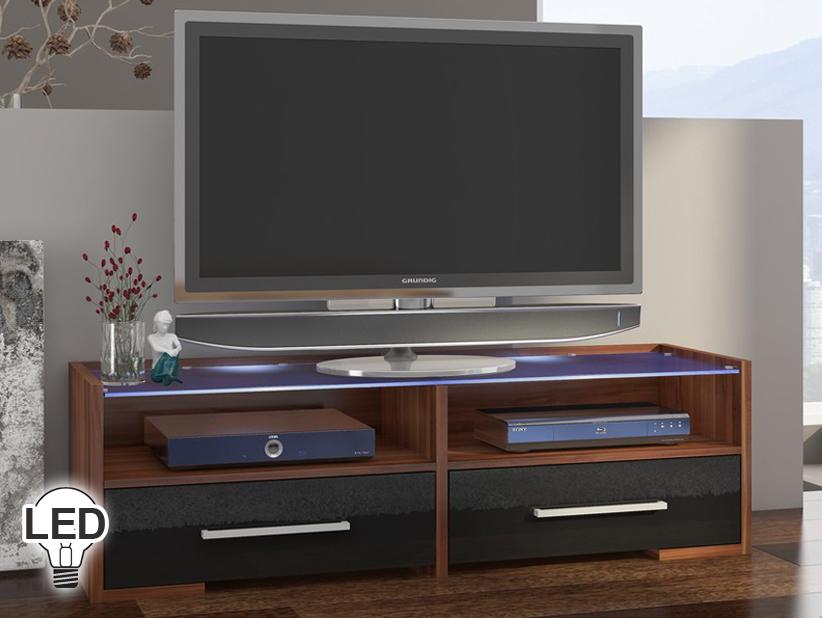 TV stolík/skrinka Semprio (slivka + lesk čierny)