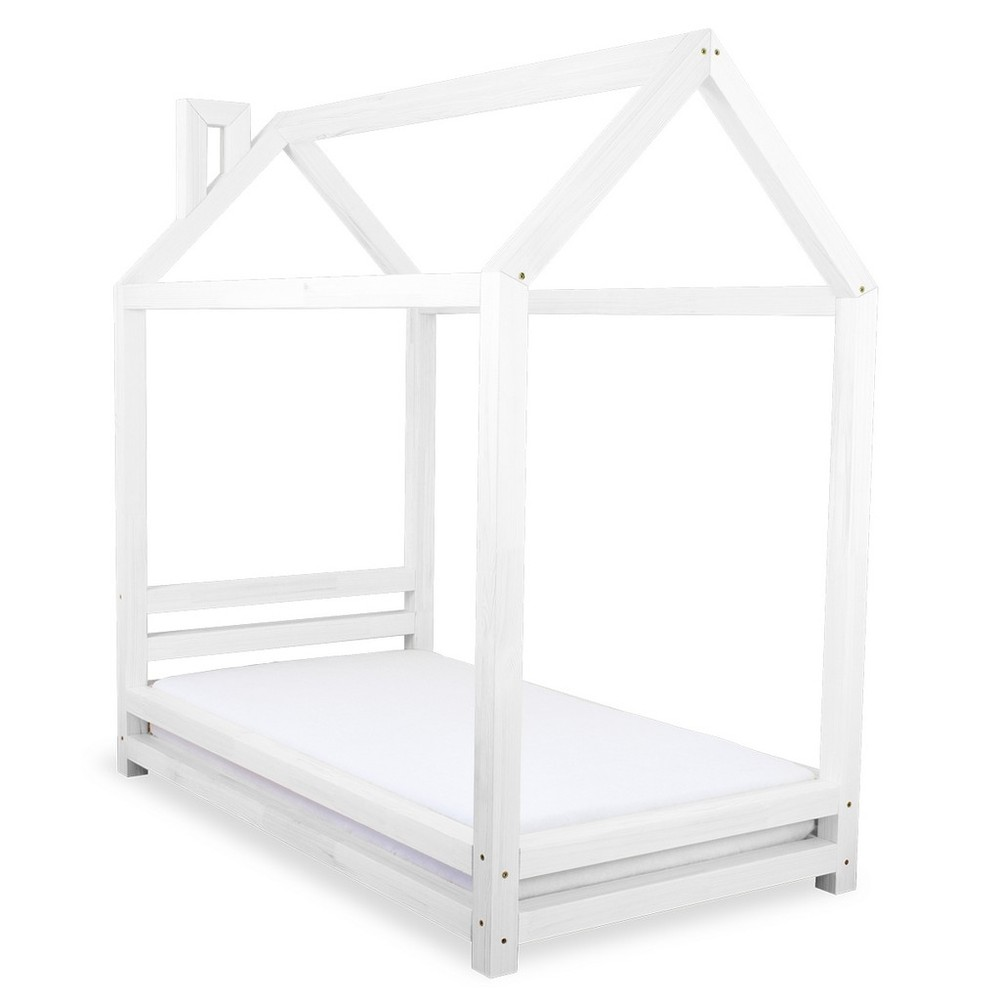 Detská biela posteľ zo smrekového dreva Benlemi Happy, 120 × 200 cm
