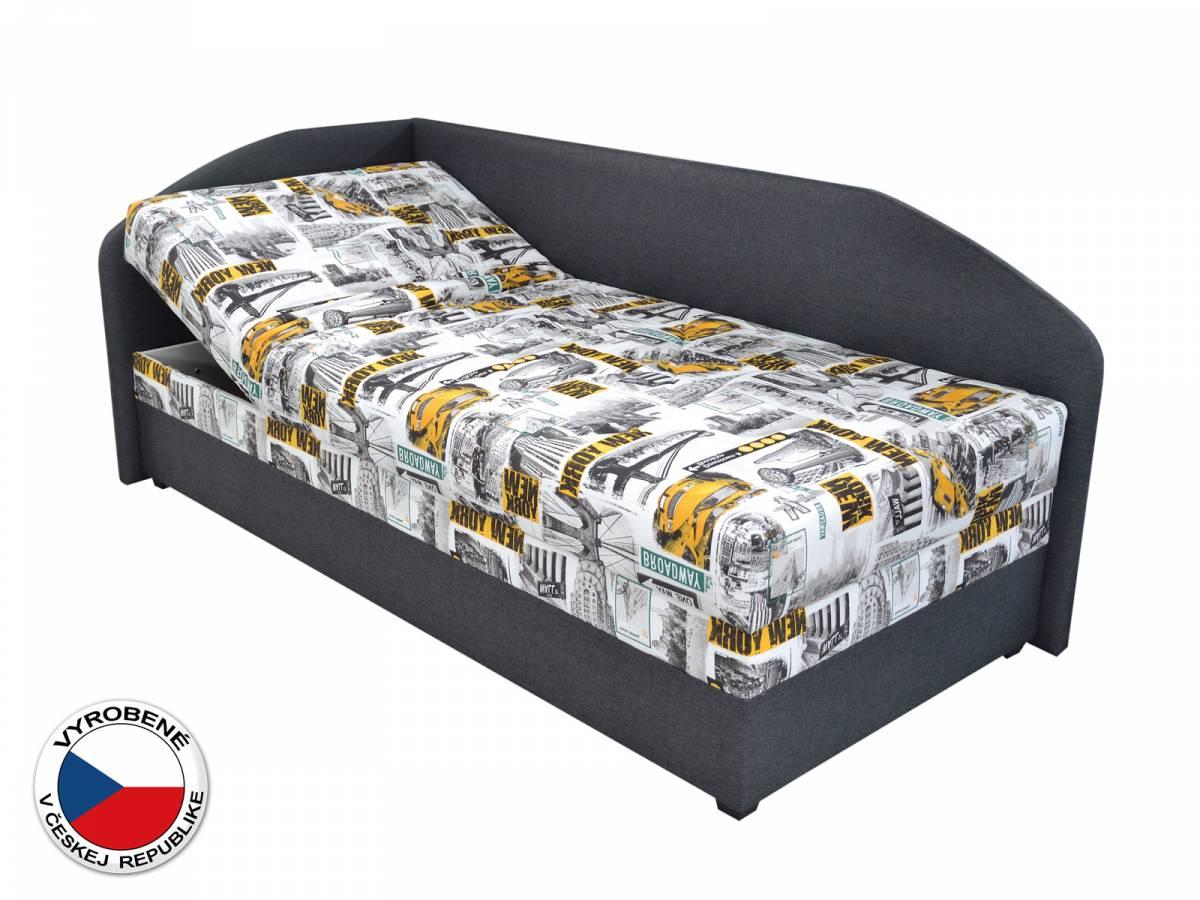 Jednolôžková posteľ (váľanda) 90 cm Blanár Turi (vzor Tettau 174-03 + tmavosivá) (s roštom a matracom) (L)