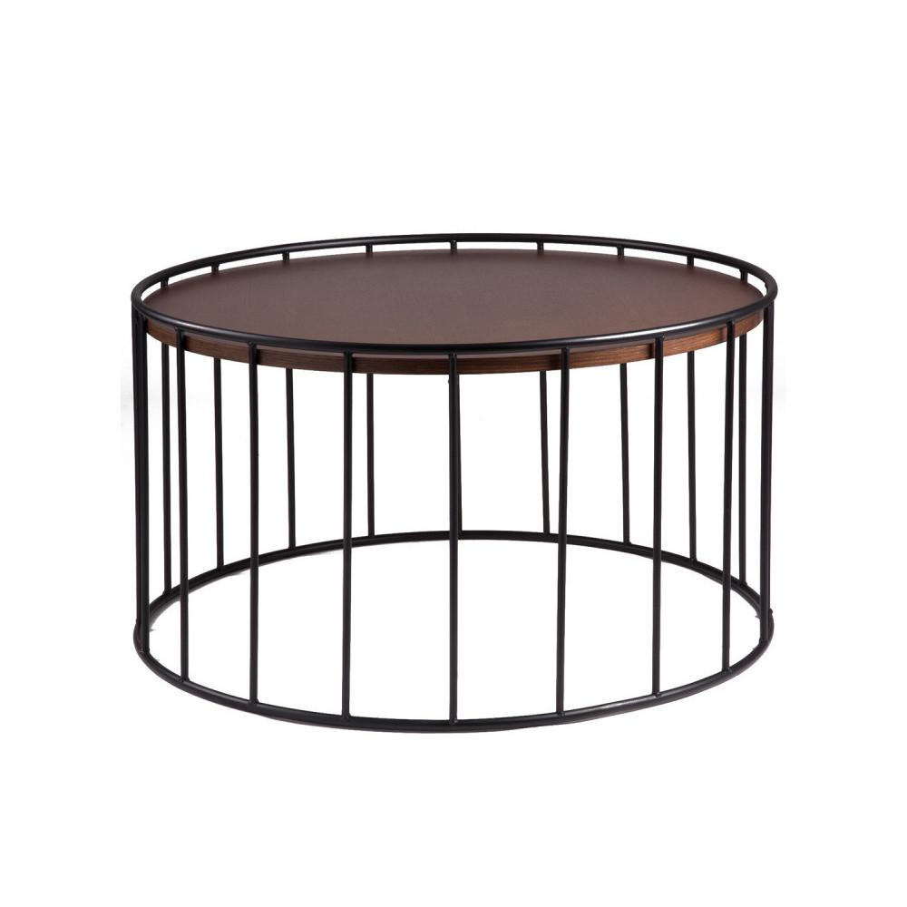 Čierny odkladací stolík sdoskou vdekore orechového dreva sømcasa Lucas