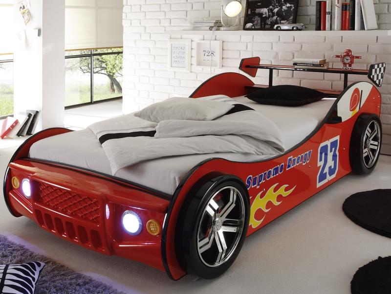 Energy 90x200 cm, červená pretekárska postel s osvetlením