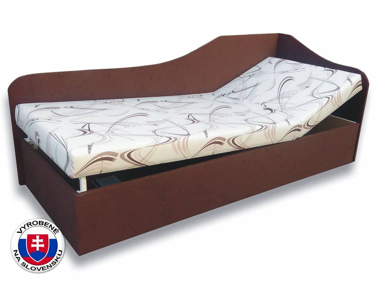 Jednolôžková posteľ (váľanda) 90 cm Anita (Sand 10 + Tmavohnedá 40) (P)