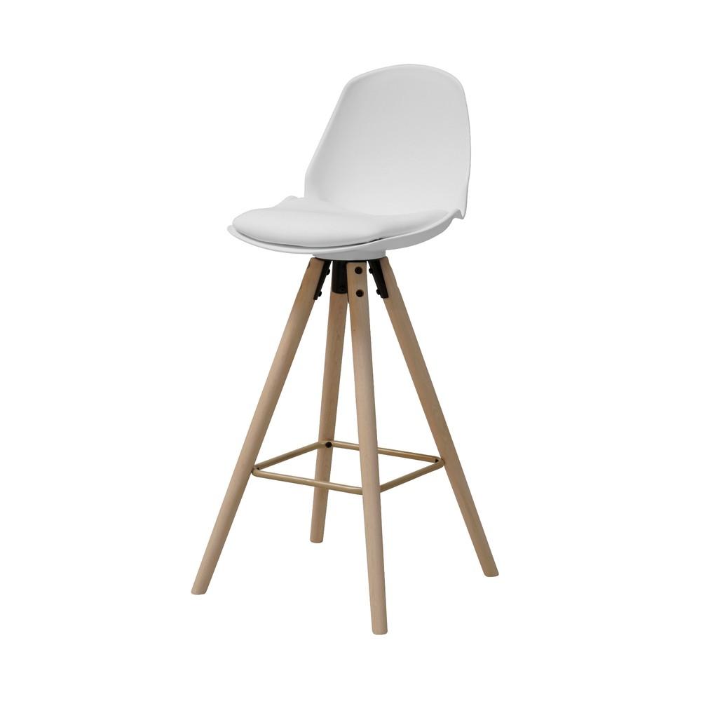 851fcc5437277 Biela barová stolička s podnožím z dubového dreva Actona Oslo I.