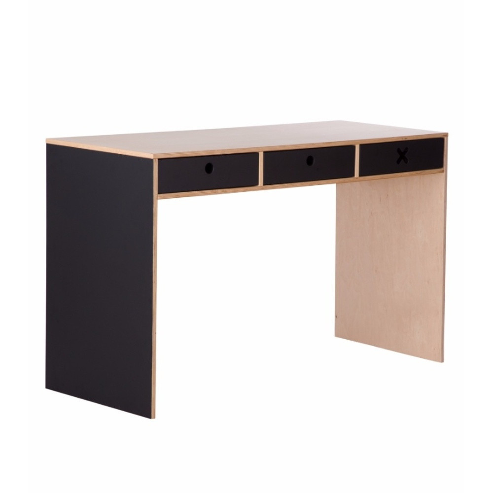 Čierny pracovný stôl s troma zásuvkami Durbas Style