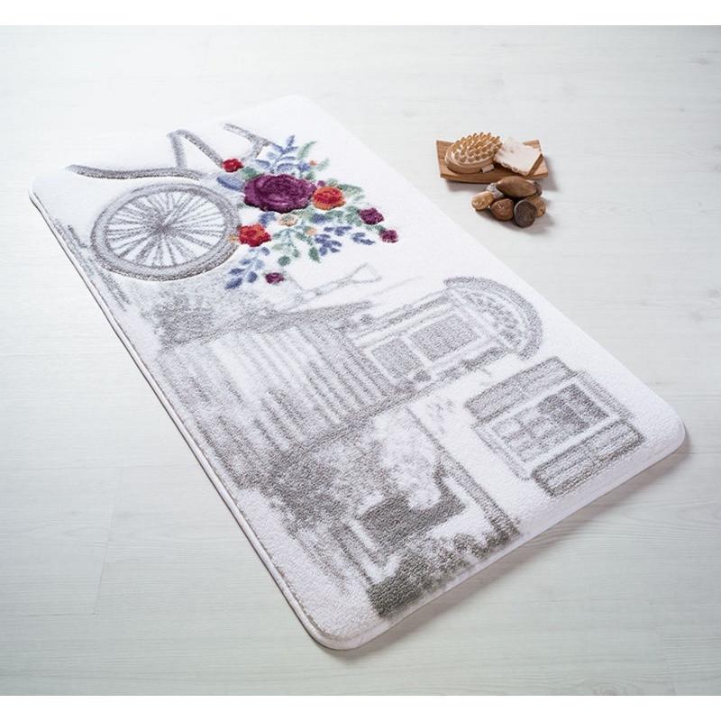 Sivá predložka do kúpeľne Confetti Bathmats Rose Basket, 80x140cm