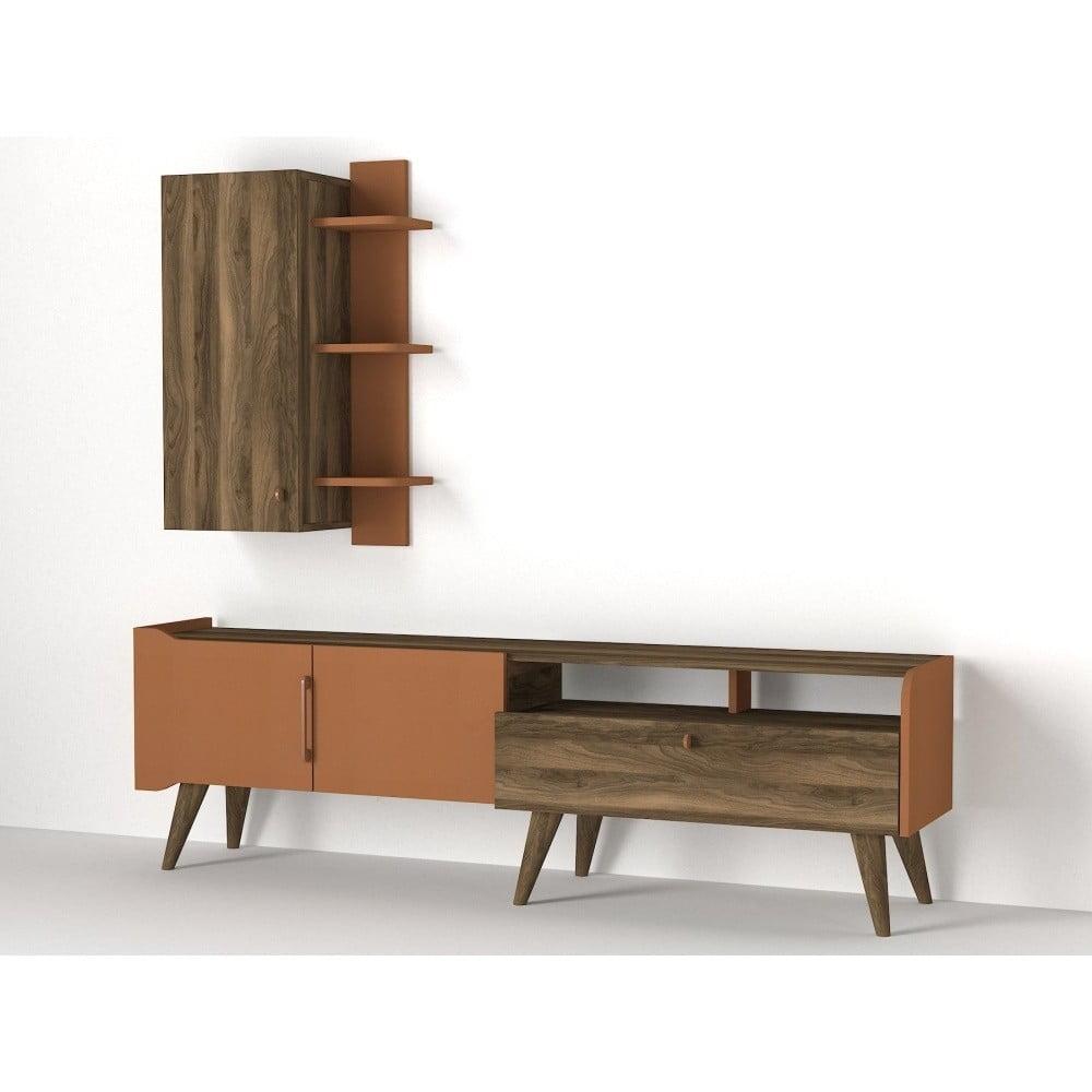 Set TV stolíka a nástennej police v dekore orechového dreva Ratto Verona