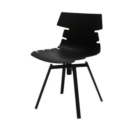 Čierna jedálenská stolička s čiernym podnožím Canett Victor