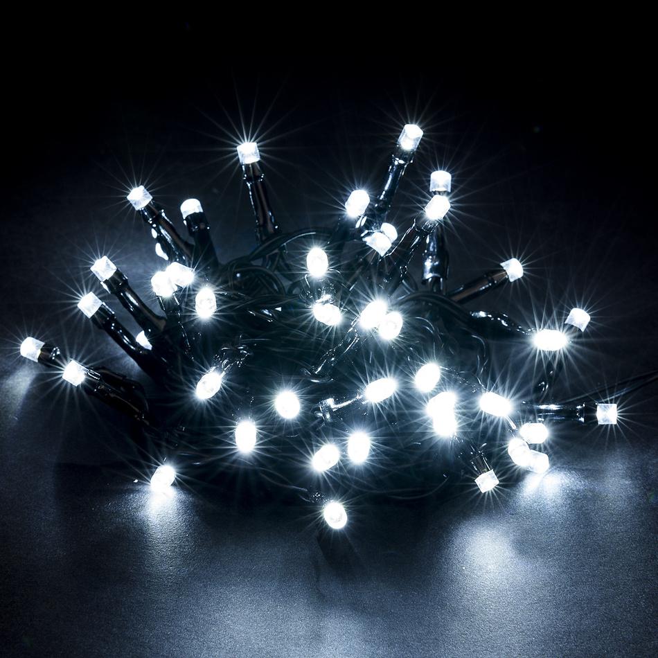 Vianočné svetelná reťaz, studená biela, 48 LED