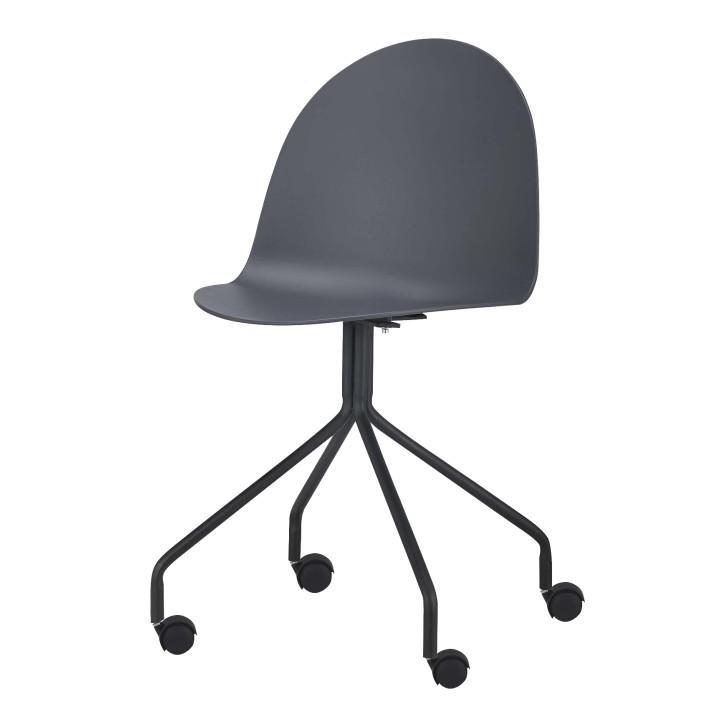 TEMPO KONDELA Stolička s kolieskami, plast + kov, tmavosivá + čierna, BRUNA