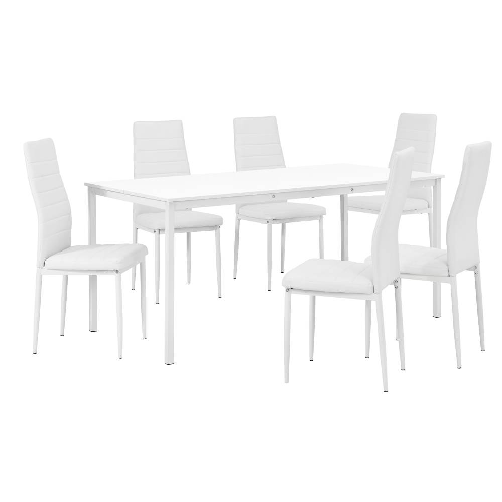 [en.casa]® Štýlový dizajnový jedálenský stôl (160 x 80 cm) - so 6 elegantnými stoličkami (biele)