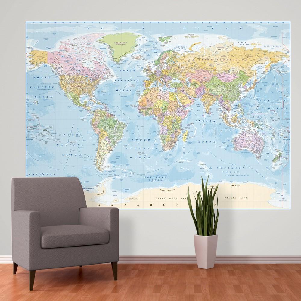 Veľkoformátová tapeta Blue Map, 158x232 cm