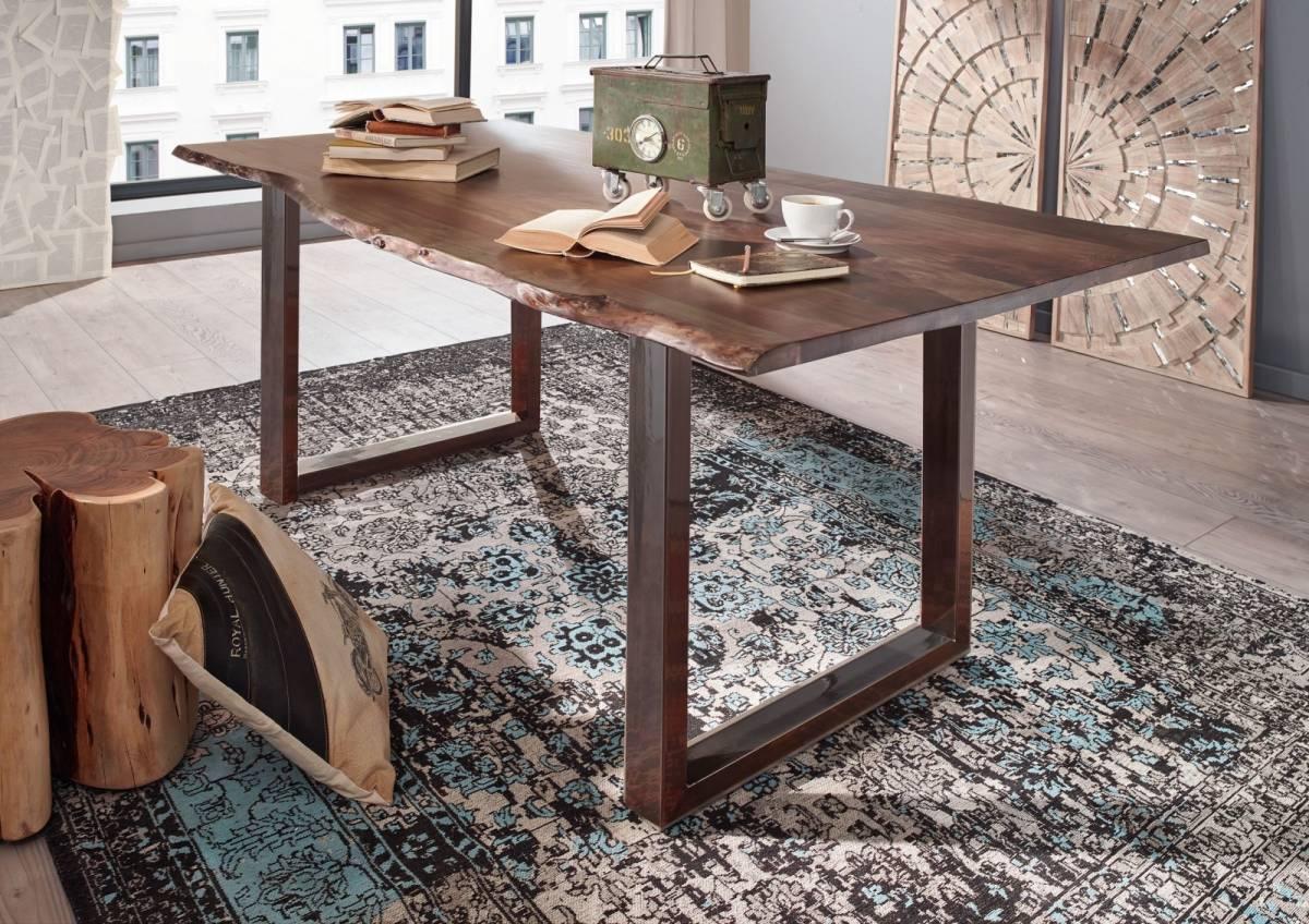 Bighome - METALL Jedálenský stôl s hnedými nohami 140x90, akácia, sivá