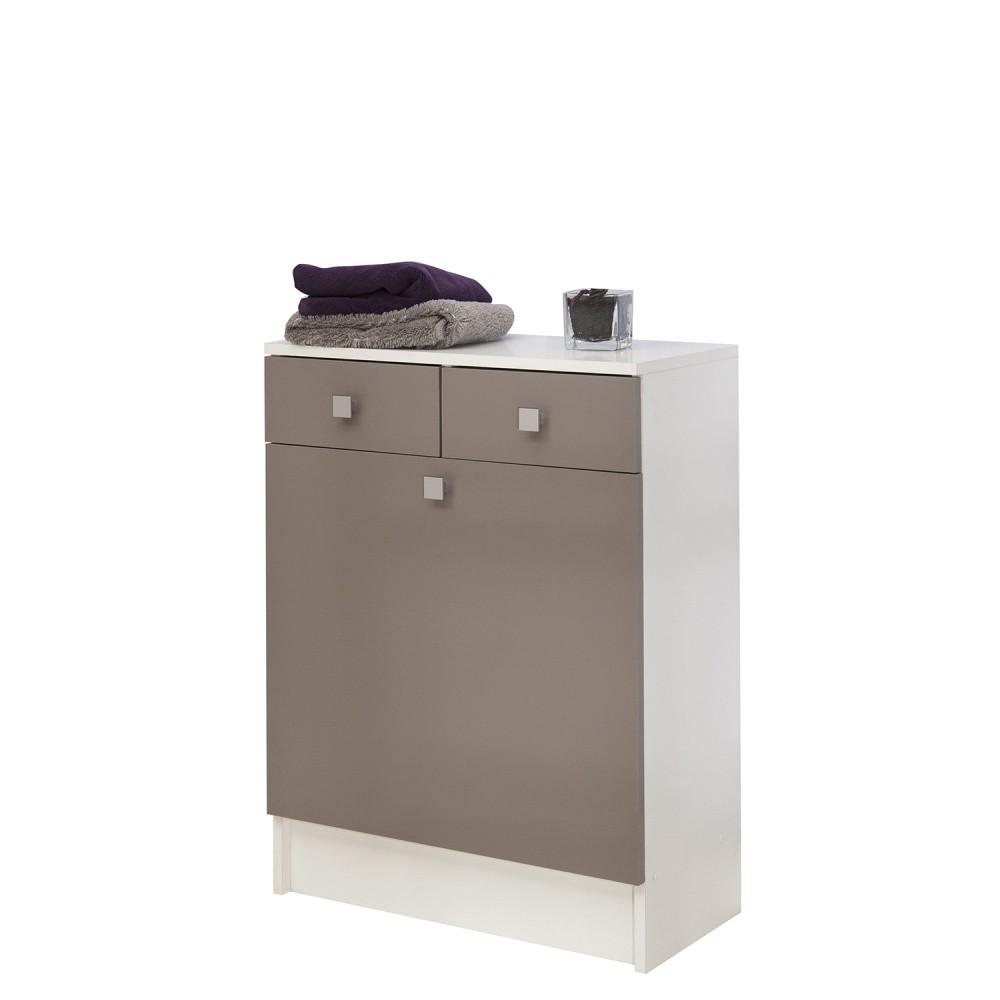 Sivohnedá kúpeľňová skrinka na kôš na bielizeň Symbiosis André, šírka 60cm