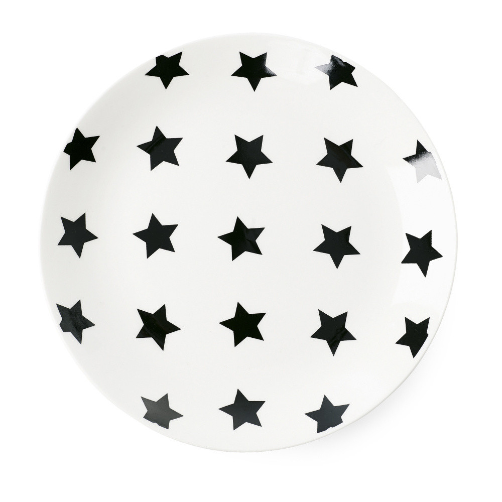 Keramický tanier Miss Étoile Black Stars, ⌀17 cm