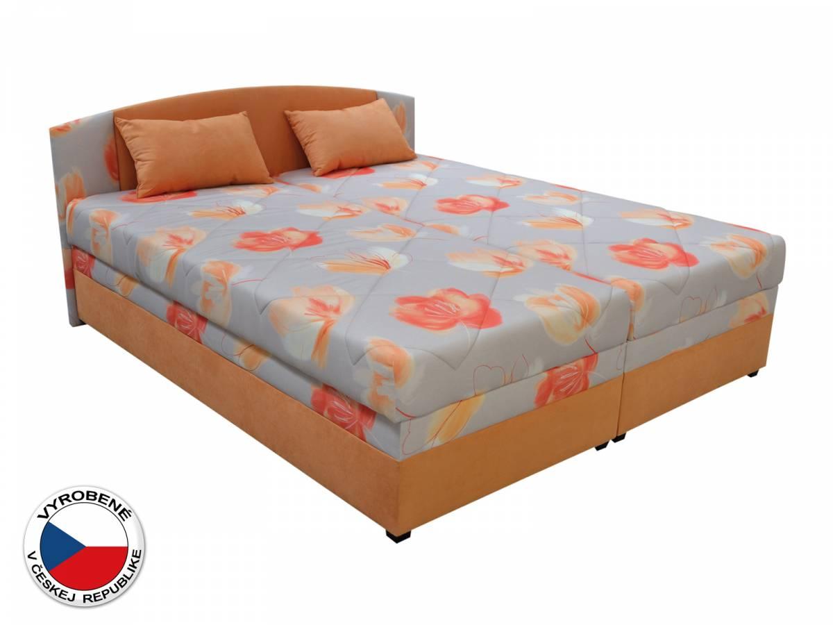 Manželská posteľ 160 cm Blanár Kappa (vzor Sára 1 + oranžová) (s roštom a matracom)