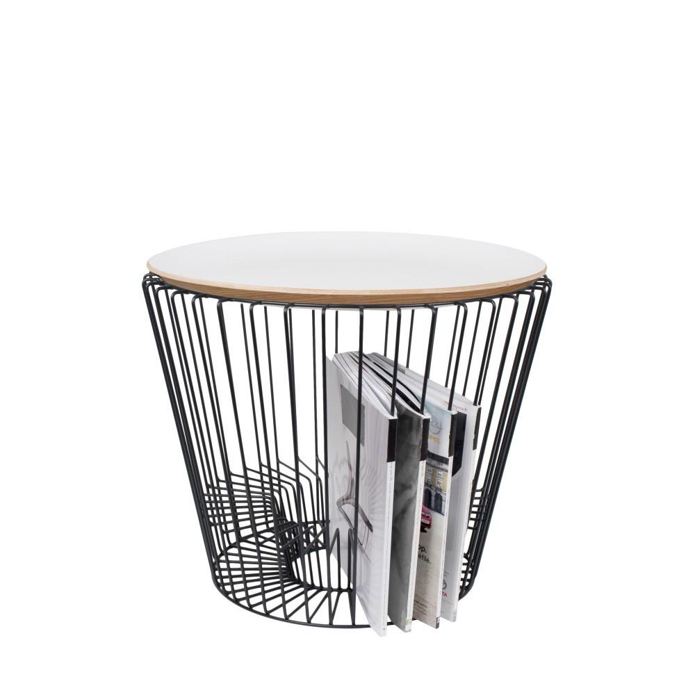 Odkladací stolík z lakovaného kovu s bielou doskou HARTÔ, Ø50 cm