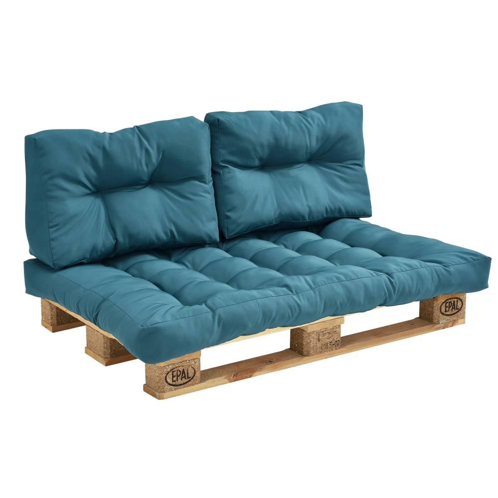 [en.casa]® Paletový nábytok - vankúšová sada - tyrkysová