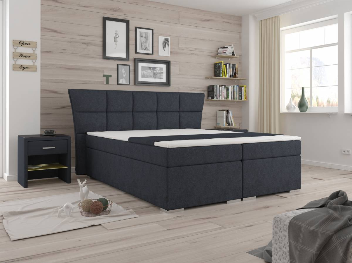 Manželská posteľ Boxspring 160 cm Warren (s matracmi) (čierna)