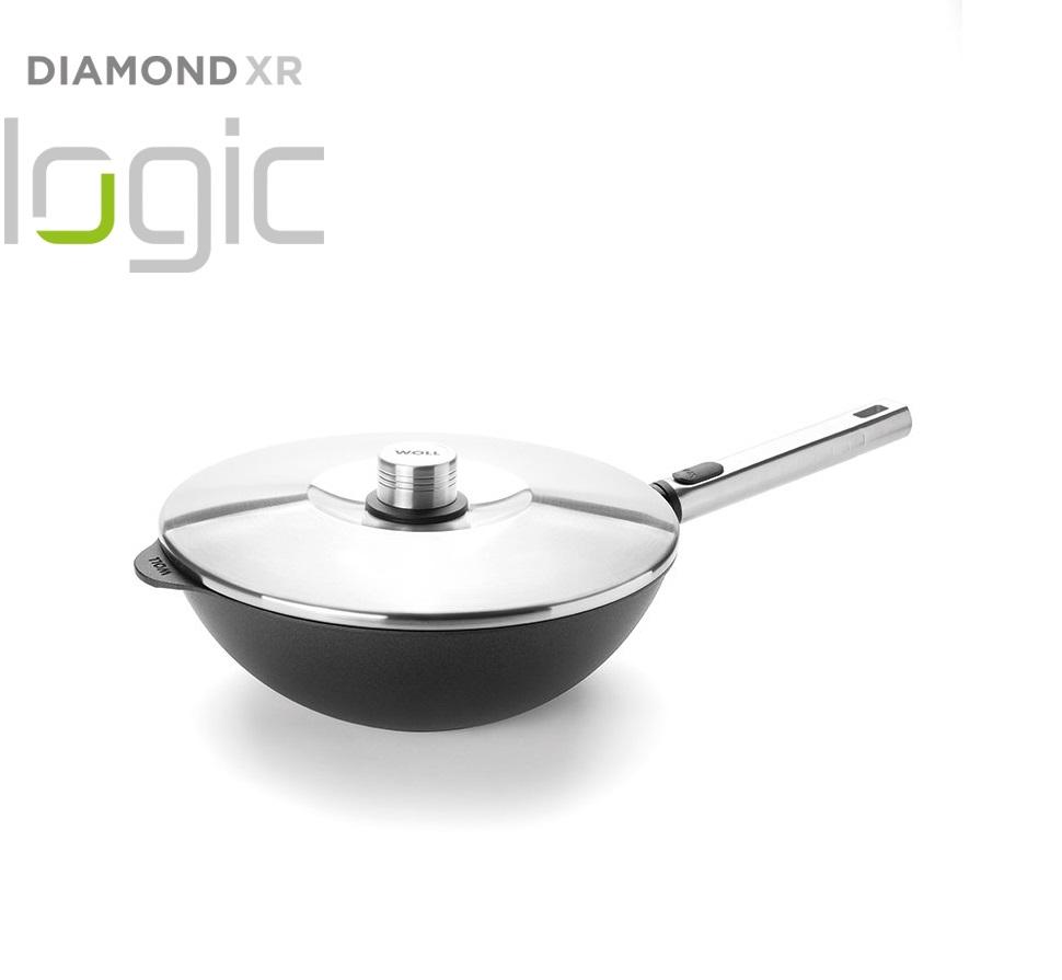 Wok panvica s pokrievkou Diamond PRO XR Logic Woll odnímateľná rukoväť 28 cm