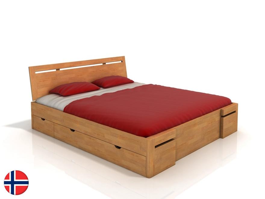 Manželská posteľ 200 cm Naturlig Bokeskogen High Drawers (buk) (s roštom)