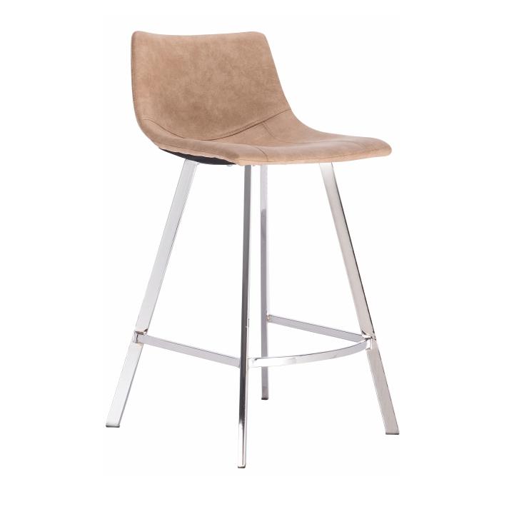 TEMPO KONDELA Barová stolička, béžová látka s efektom brúsenej kože, DERON