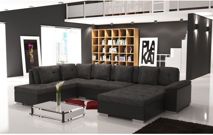 Elegantná sedacia súprava v tvare U, ľavé prevedenie, ekokoža čierna / šenil Berlin 02, ALMA
