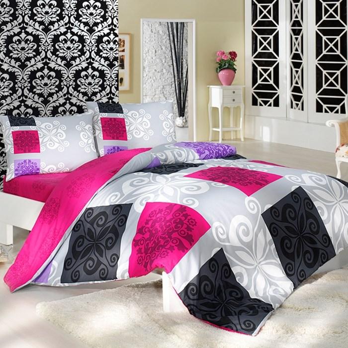Bedtex bavlnené obliečky Sedef Ružové, 220 x 200 cm, 2 ks 70 x 90 cm