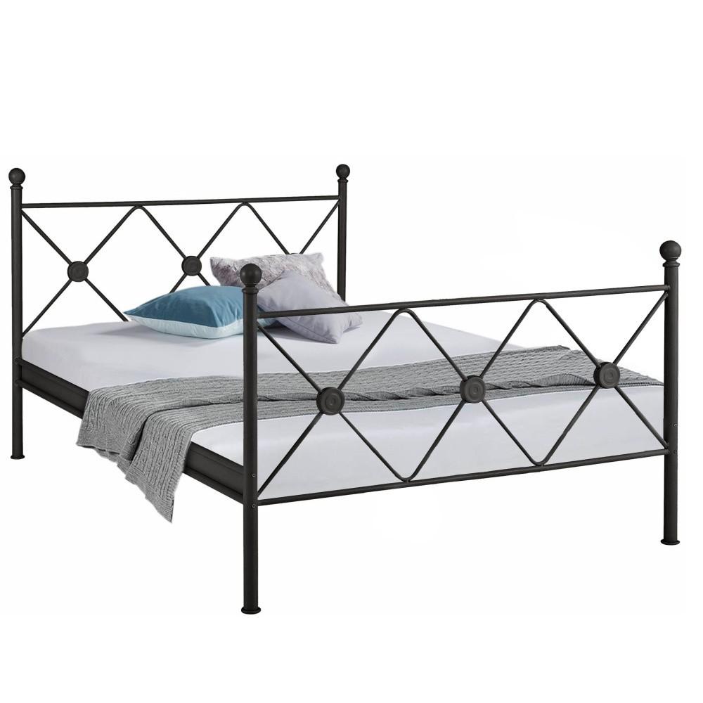 Čierna kovová posteľ Støraa Johnson, 140 x 200 cm
