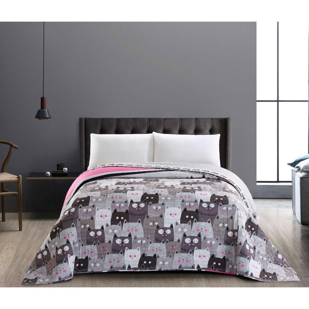 Obojstranná sivá prikrývka na dvojposteľ DecoKing Cat Invasion, 220 x 240 cm