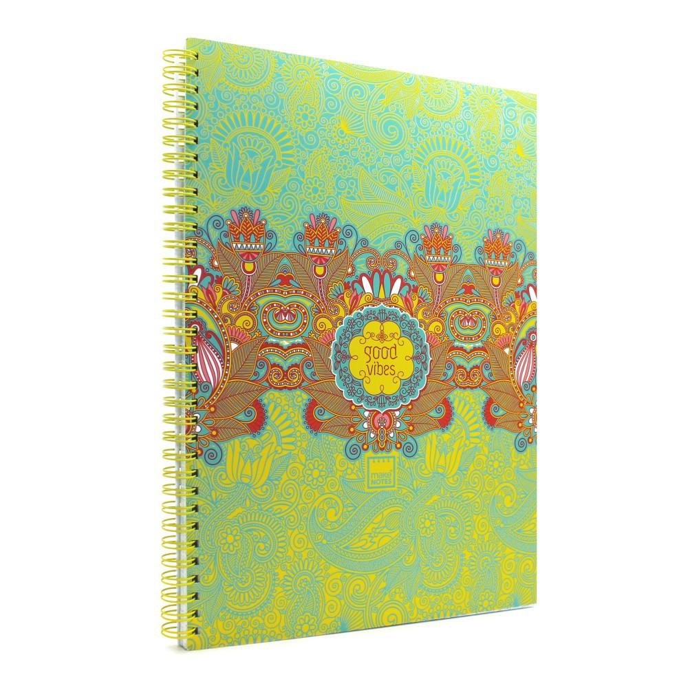 Zápisník A4 s tmavozeleným detailom Makenotes Good Vibes, 80 listov