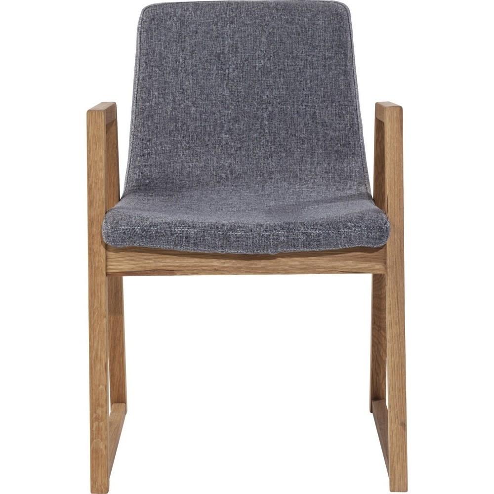 Sivá stolička s dubovou konštrukciou Kare Design Trapez