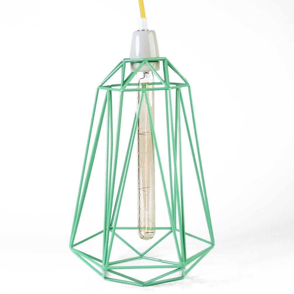 Svetlo so zeleným tienidlom a žltým káblom Filament Style Diamond #3