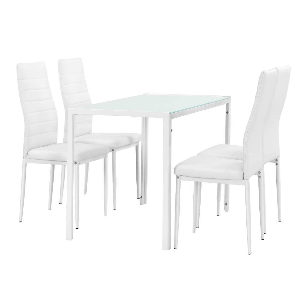 [en.casa]® Štýlový dizajnový jedálenský stôl - biely sklenený stôl s bielymi stoličkami