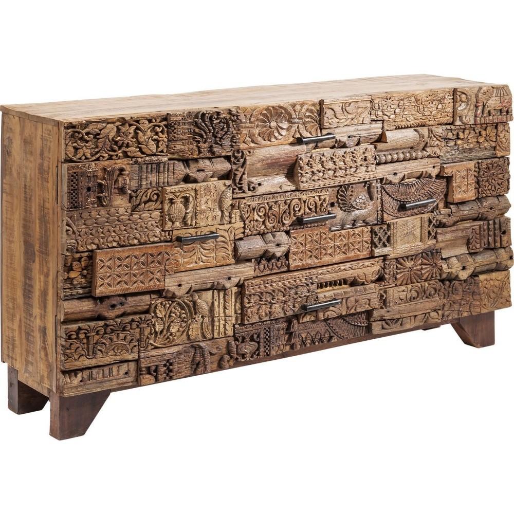 Hnedá drevená skriňa so zásuvkami Kare Design Shanti Surprise Puzzle, 160 x 90 cm