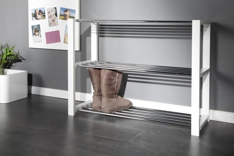 Regál na topánky SELIGER - biela/strieborná