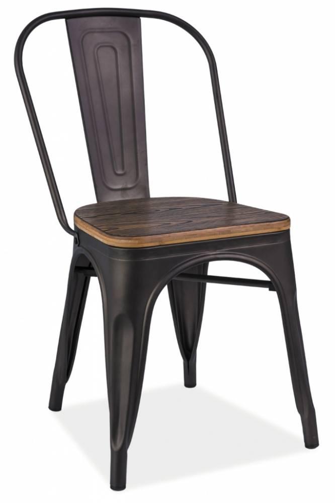 SIGNAL LOFT jedálenská stolička - grafit / orech
