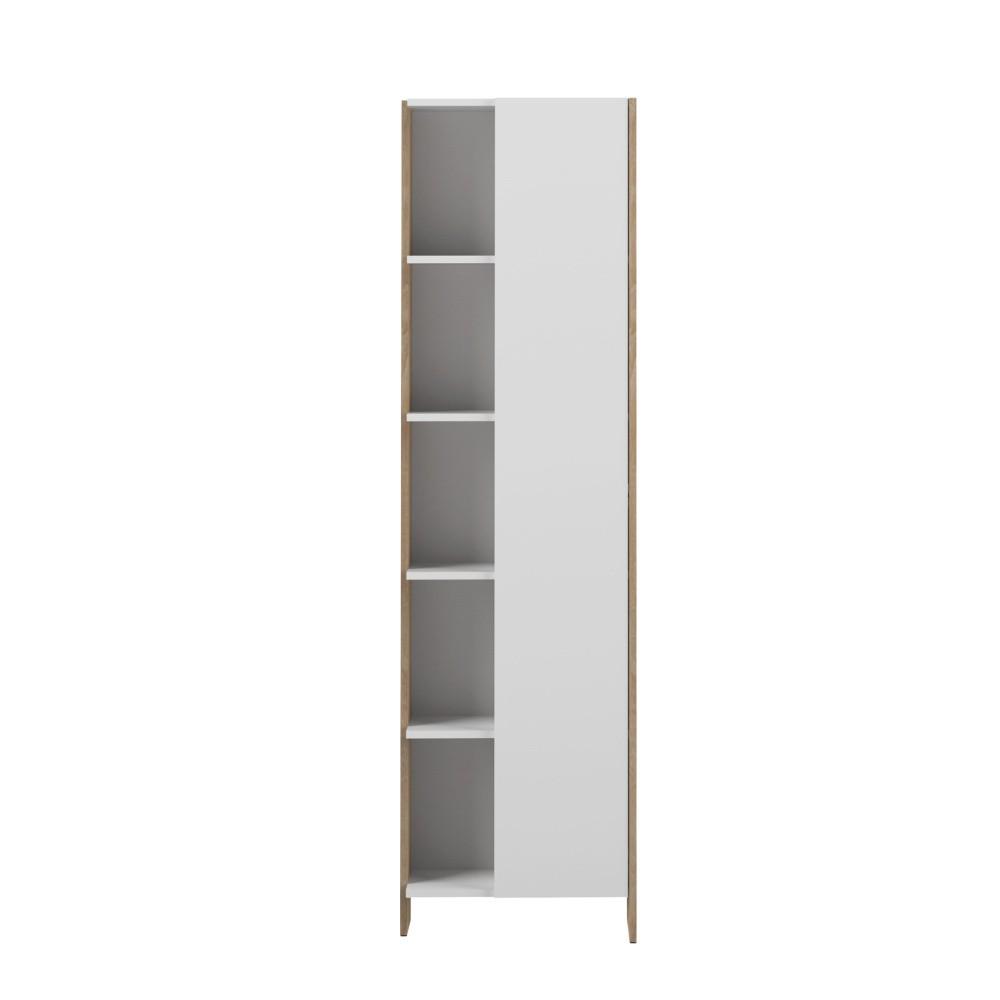 Biela kúpeľňová skrinka s hnedým korpusom Symbiosis Auben, výška 180cm