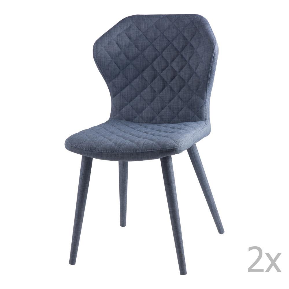 Sada 2 modrých jedálenských stoličiek sømcasa Avery