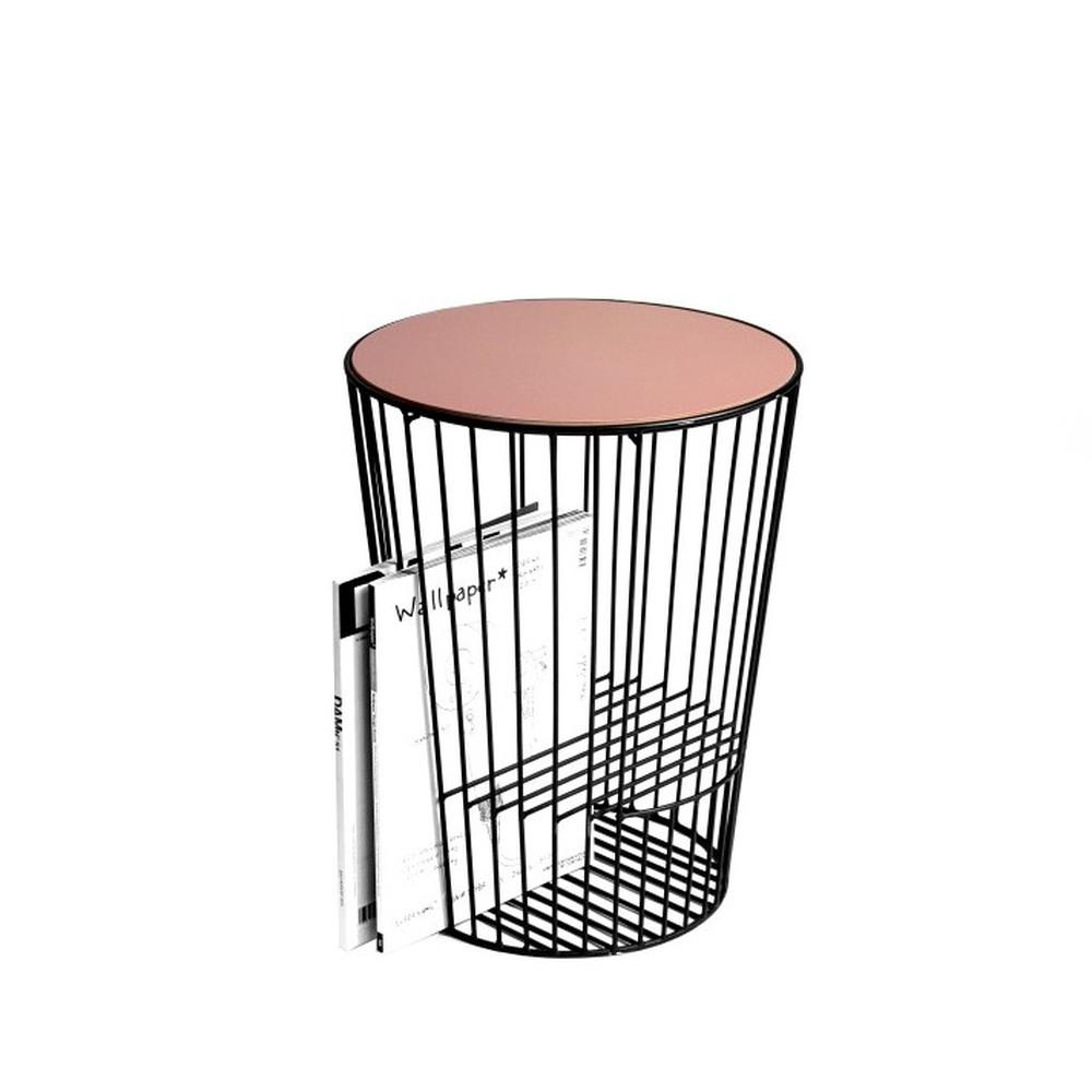 Ružovo-sivý odkladací stolík z kovu s možnosťou uloženia časopisov HARTÔ Duo