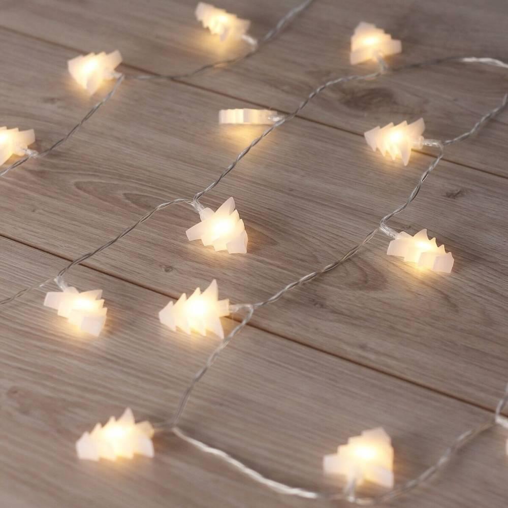 DecoKing Vianočná svetelná reťaz Stromčeky teplá biela, 20 LED