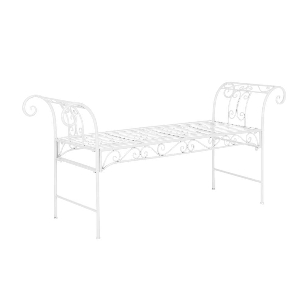 [casa.pro]® Kovová záhradná lavička - 70 x 147 x 46 cm - biela