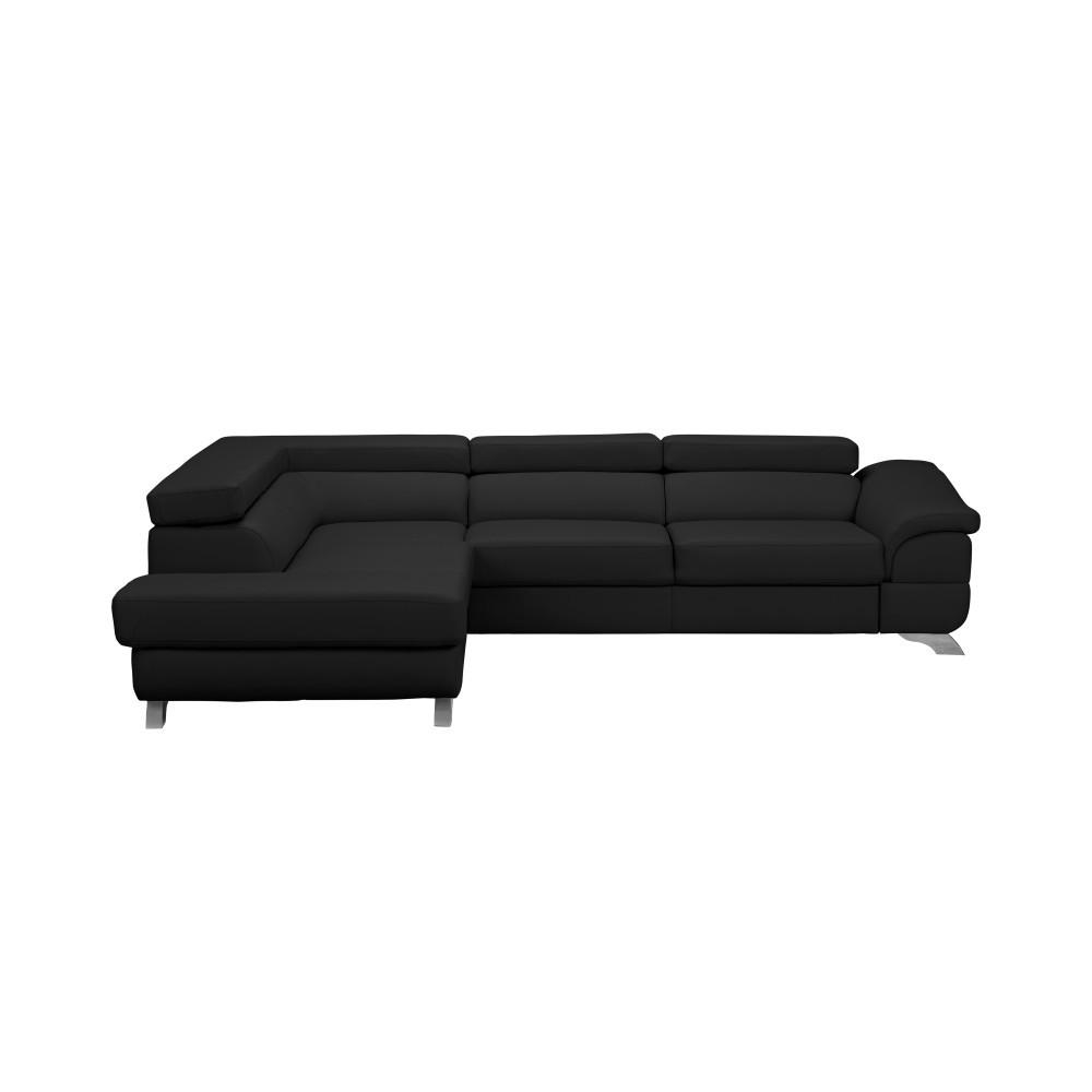 Tmavosivá kožená rozkladacia rohová pohovka Windsor & Co Sofas Gamma, ľavý roh
