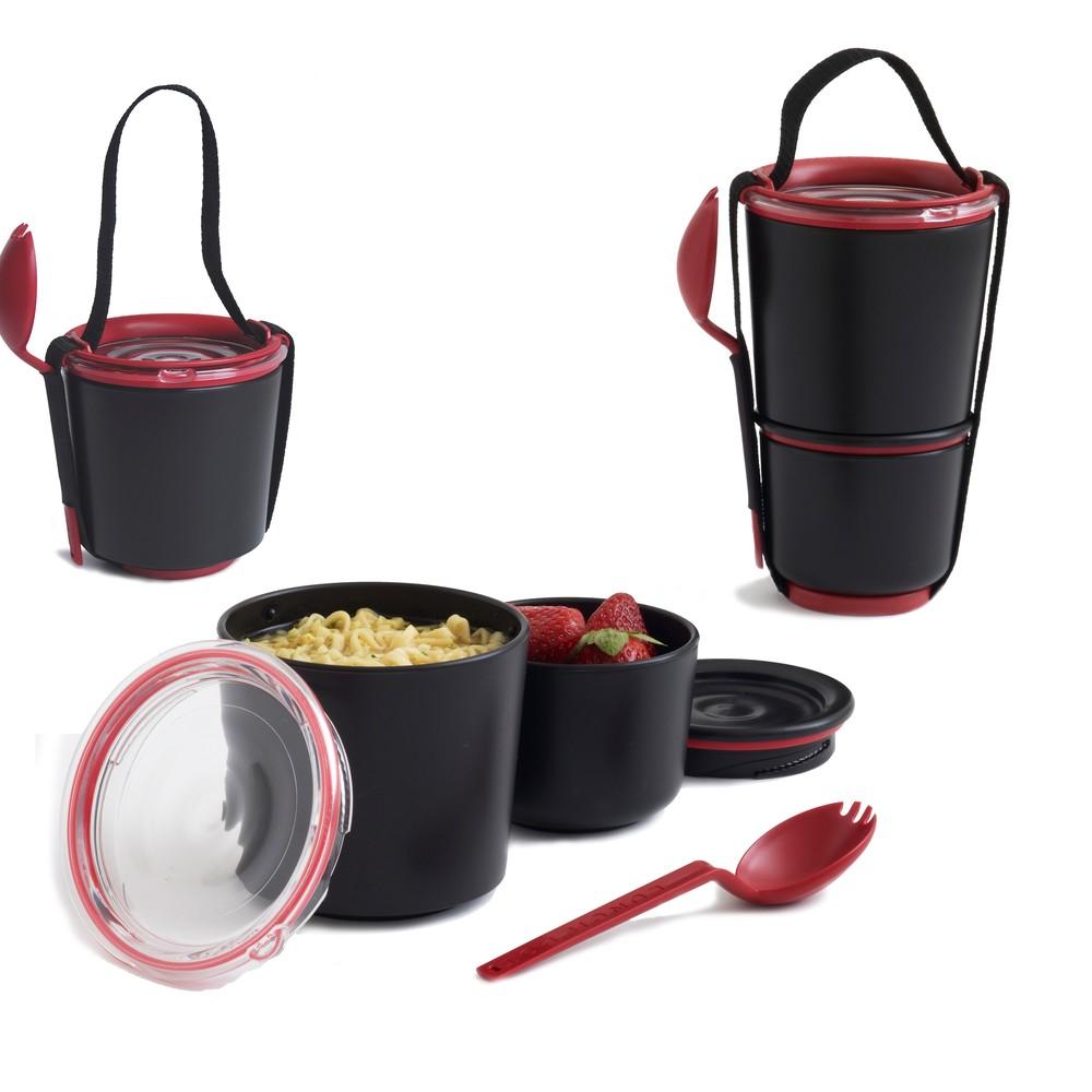 Desiatové misky Black Blum Lunch Pot, čierno-červené