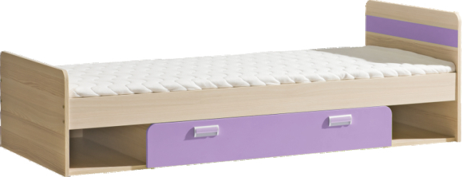 Posteľ komplet, jaseň/fialová,80x190, EGO L13