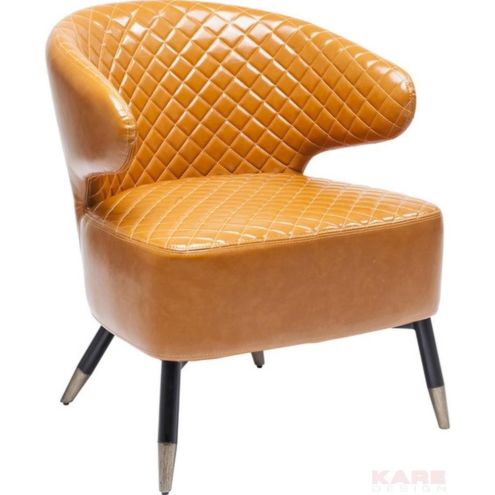 Oranžové koženkové kreslo Kare Design Coctailsessel