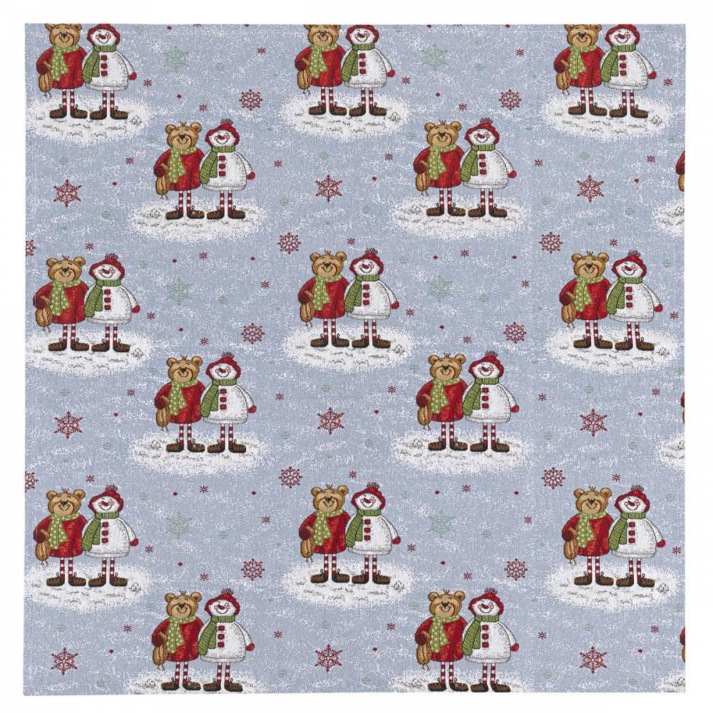 BO-MA Trading Vánoční ubrus Medvědi, 100 x 100 cm