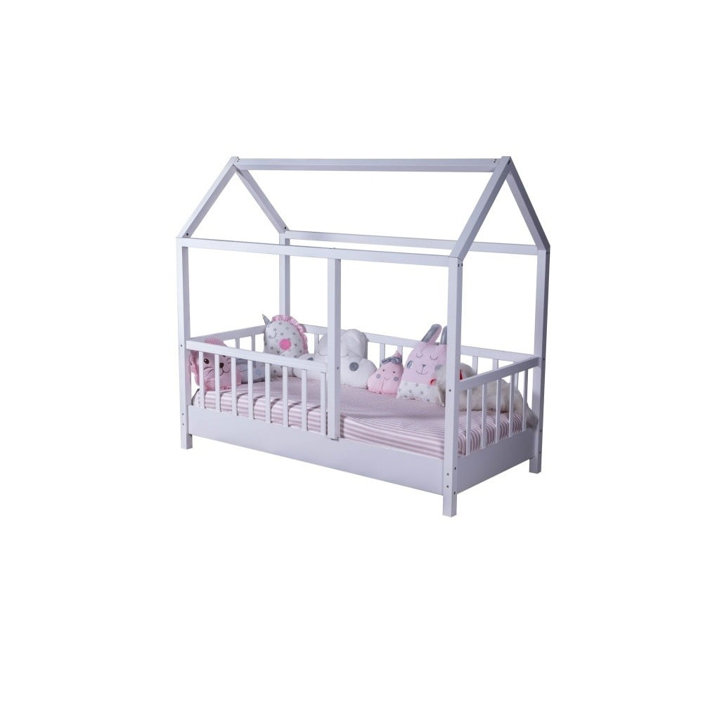 Biela detská jednolôžková posteľ v tvare domčeka Mezzo My Room, 90 × 190 cm